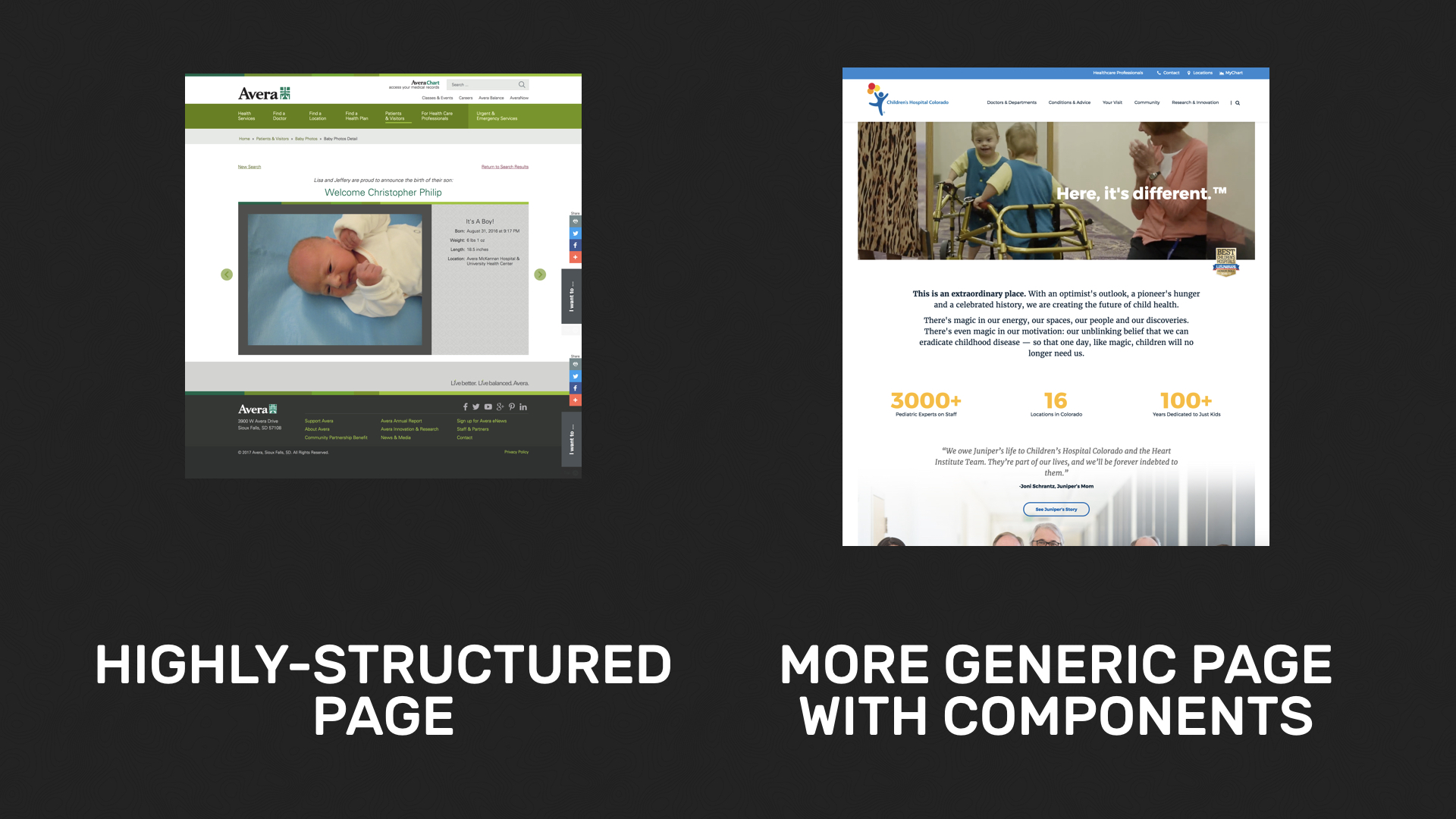 Highly-structured page side by side with a more generic page with components