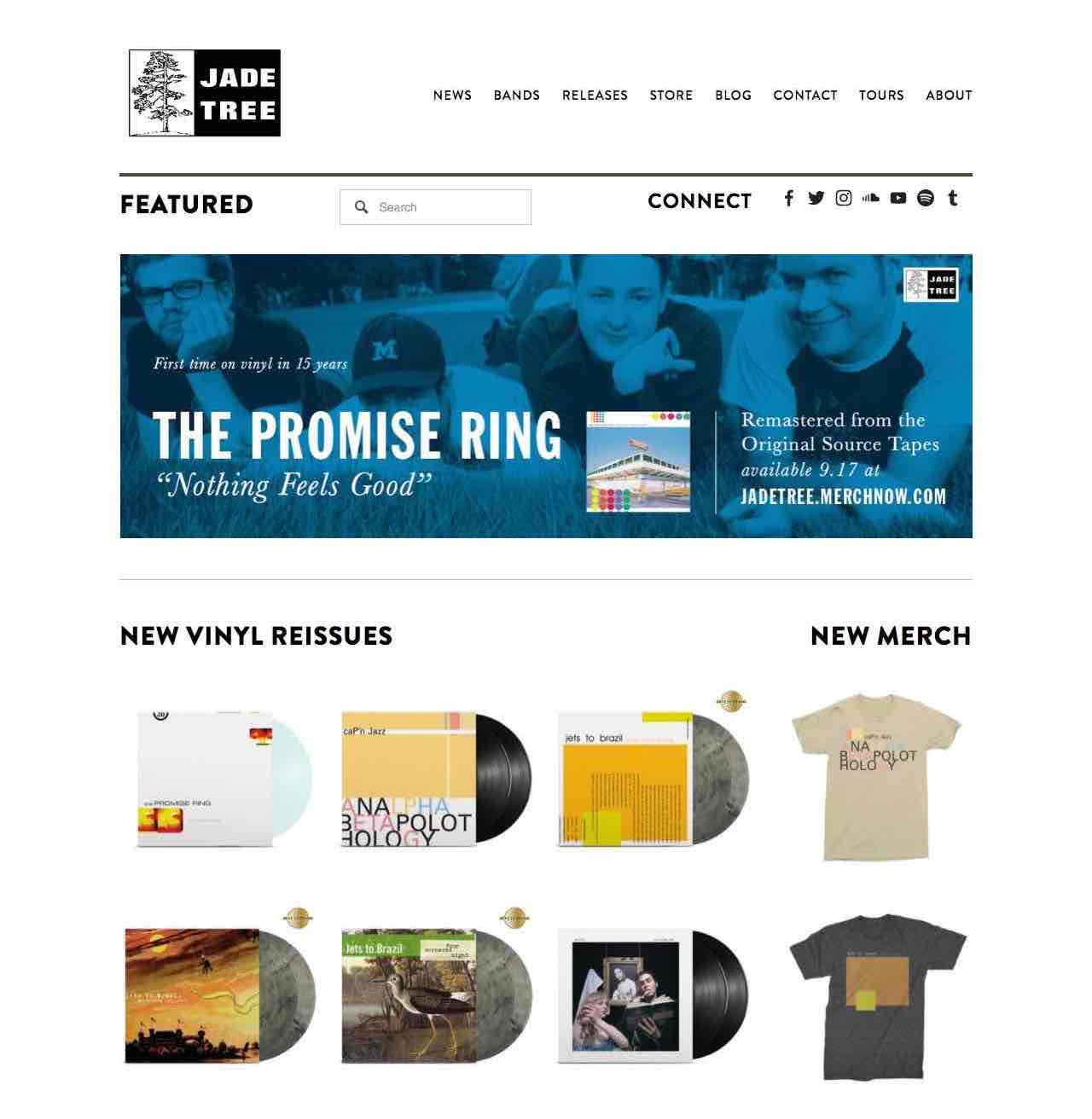 home page for jade tree records, featuring a lot of unreadable images