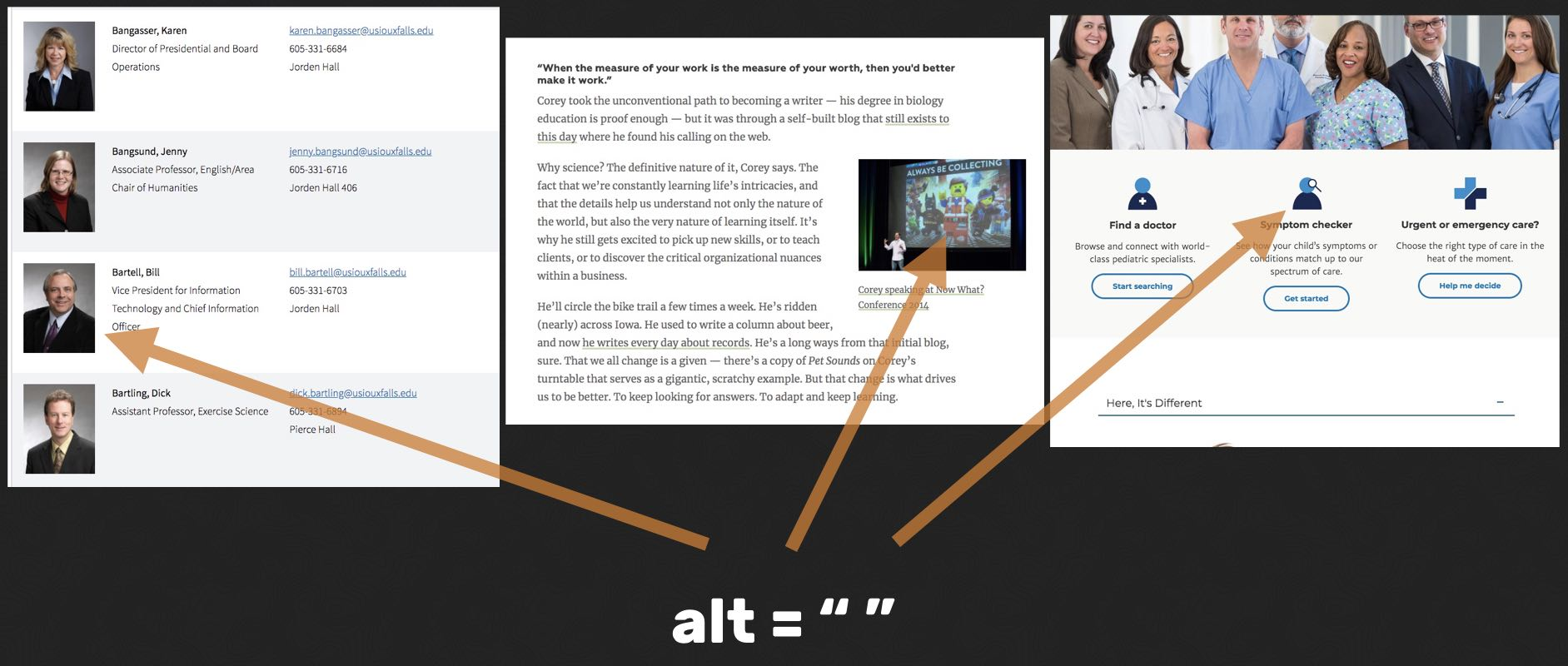 three examples of adjacent text