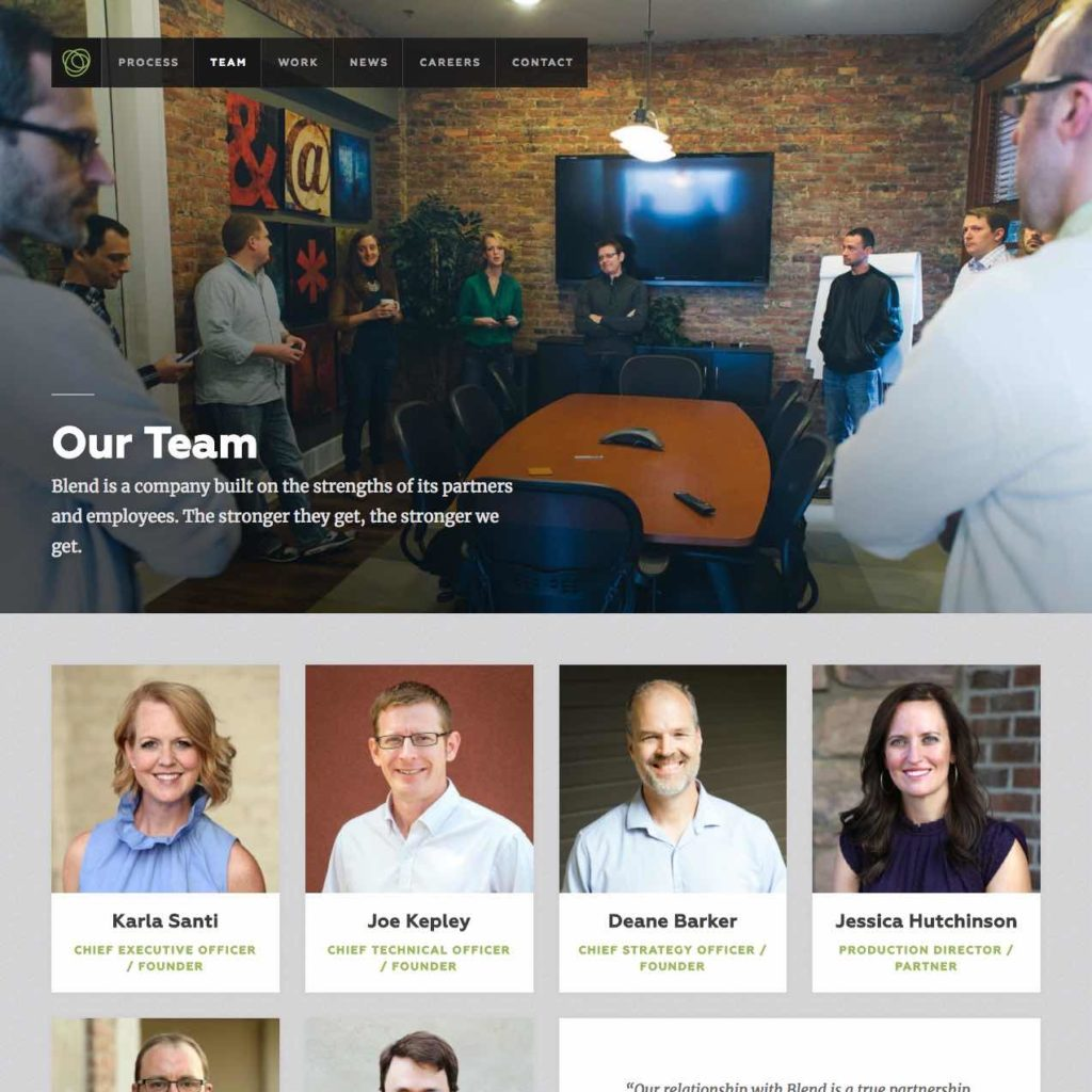 blend interactive's team page