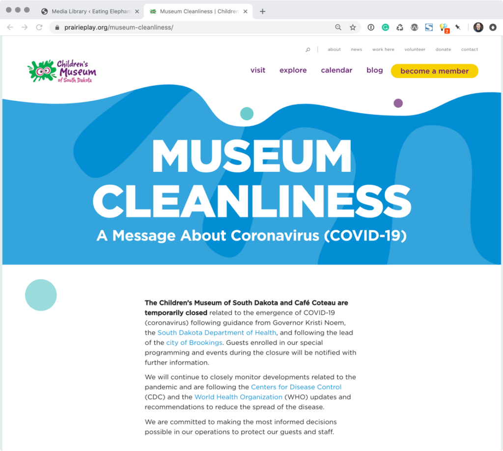 A single page outlining museum cleanliness.
